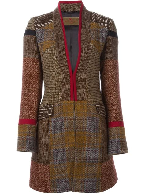 Patchwork Coat - etro patchwork tweed coat in brown lyst