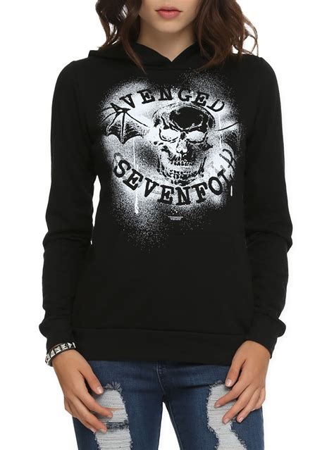 Jaket Hoodie Zipperavenged Sevenfold black pullover hoodie with spray paint stencil style a7x bat logo design on front
