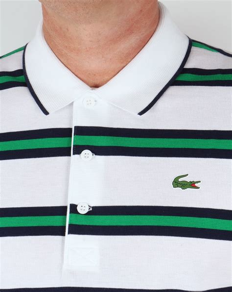 Polo Shirt Lacoste Stripe Import Lacoste Striped Tennis Polo Shirt White Navy Green