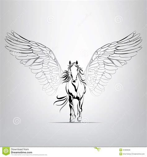vector silhouette running pegasus in motion stock vector