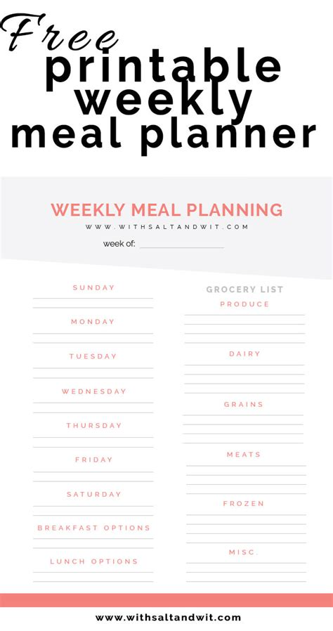 Free Printable Weekly Meal Planner With Grocery List Free Weekly Meal Planner Template With Grocery List