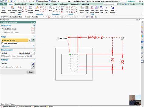 3 hole dimensions nx 11 hole depth and drafting dimensions siemens plm