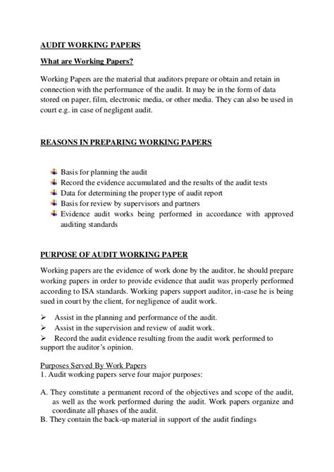 Audit Working Paper Template Audit Working Papers
