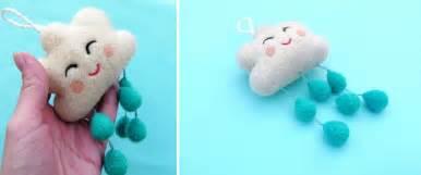 Handmade Felt Toys - handmade happy cloud for a baby mobile handmade