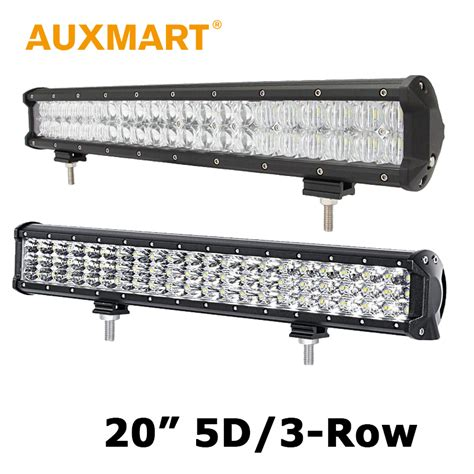 3 Led Light Bar Auxmart 20 Inch Cree Chips Led Light Bar 5d 210w 3 Row 252w Offroad Light 4x4 Driving L 12v