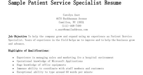 Resume Type Words Per Minute by Sle Patient Service Specialist Resume Resume Sles