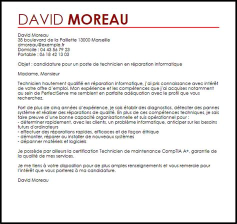 Lettre De Motivation Stage Technicien Informatique Exemple Lettre De Motivation Technicien En R 233 Paration Informatique Livecareer