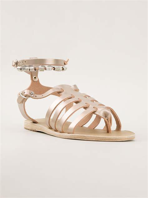 spartan sandals ancient sandals sparta sandals in gold metallic lyst