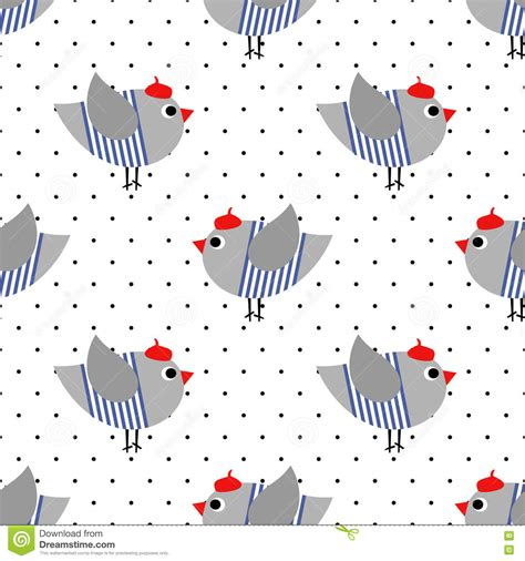 dot pattern in french french style birdie seamless pattern on polka dots
