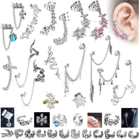 top ear bar details about cuff earring cartilage helix top upper ear