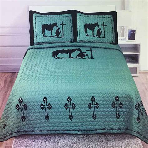 cowboys comforter set texas cross praying cowboy western quilt bedspread