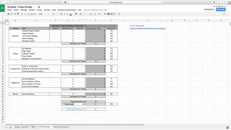 task estimation template project budget and estimation pert template project