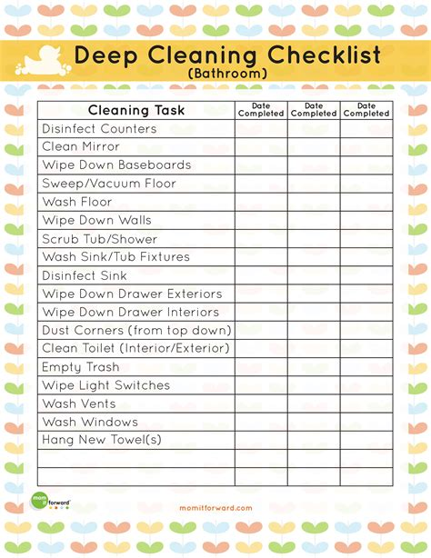Printable bathroom deep cleaning list mom it forwardmom it forward