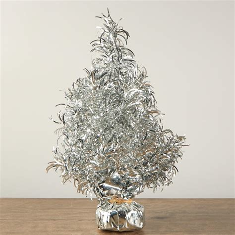 silver tinsel christmas tree table decor christmas and