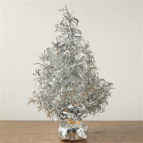 silver tinsel christmas tree table decor christmas and