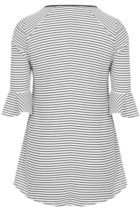 text color fader black white striped top with cross front detail