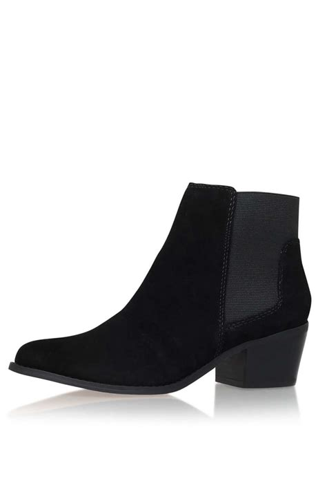Low Grey Ankle Boot From Topshop by Lyst Topshop Black Low Heel Ankle Boots By Miss Kg In Black