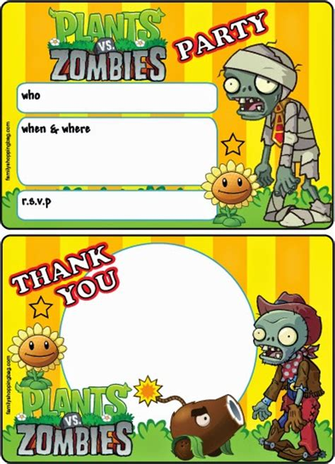 Plants Vs Zombies Invitation Template plants vs zombies free printable cards or invitations