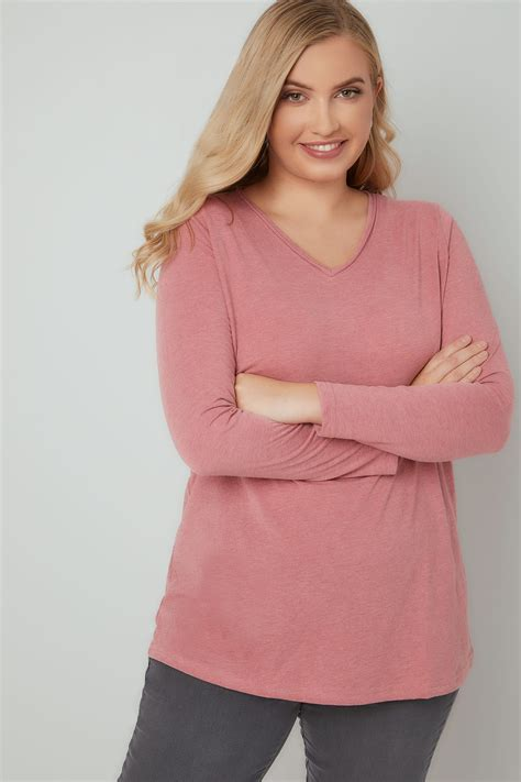Po Address Finder Pink Marl Sleeved V Neck Jersey Top Plus Size 16 To 36