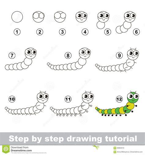 tutorial vector simple drawing tutorial centipede stock vector image 89883910