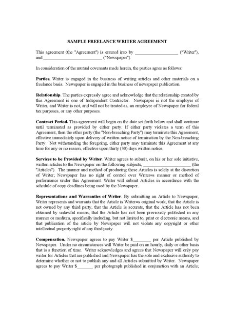 Letter Of Agreement Freelance Writing Freelance Contract Template 6 Free Templates In Pdf