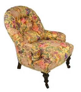 overstuffed floral gold chintz mahogany armchair antique