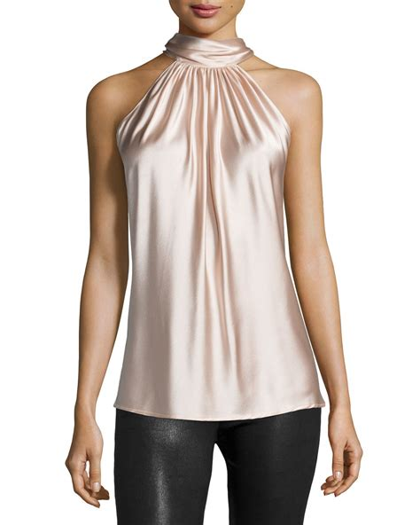 Neck Top ramy brook halter neck top in pink lyst