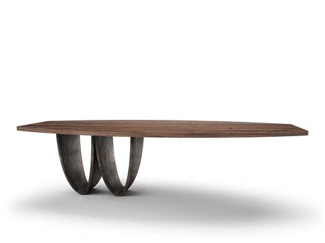 Wood Dining Table Bases Solid Wood Dining Table With Steel Base Bowi By Belfakto