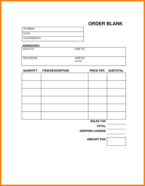 Printable Order Forms Printable 360 Degree Order Form Template