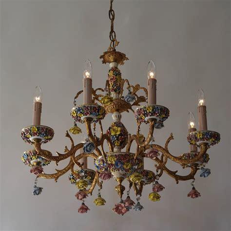 Porcelain Chandelier by Italian Porcelain Flower Gilt Iron Chandelier For Sale At