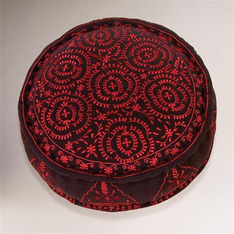 black embroidered floor cushion world market