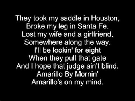 Collection of Country Music Amarillo By Morning George Strait Lyrics ...