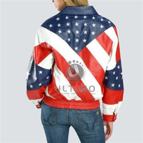 Jaket Usa 80 american usa banner leather jacket for