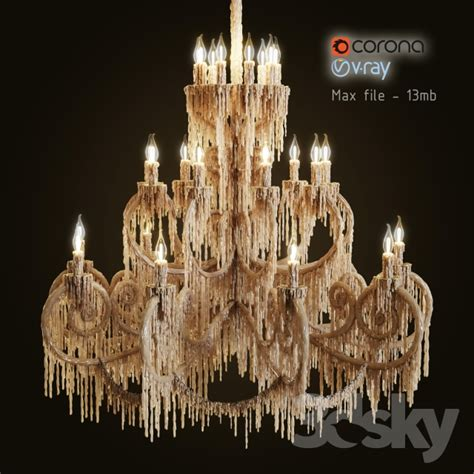 Wax Candle Chandelier 3d Models Ceiling Light Chandelier Bathed In Wax
