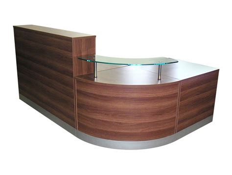 Reception Desks Furniture Elite Curved Corner Reception Unit In Walnut