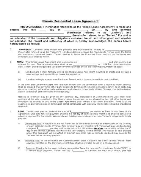 printable rental agreement illinois illinois residential lease agreement edit fill sign