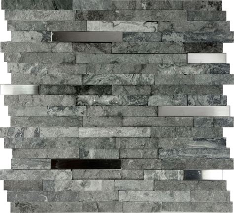 sle rustic copper linear natural slate blend mosaic 10sf gray natural stone stainless steel insert mosaic
