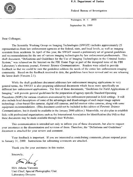 Forensic Cover Letter by Fbi Swgit Photo Guidelines Part 1 Forensic Science Communications October 1999