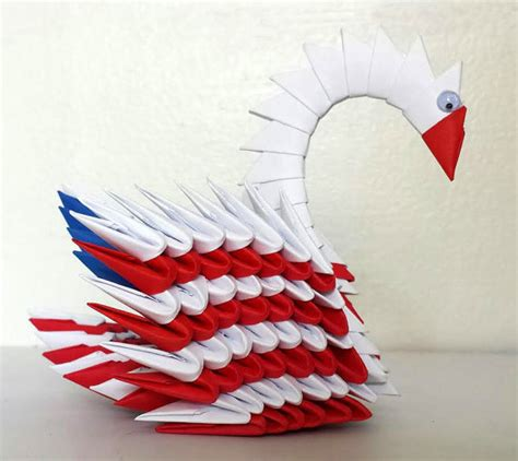 Small 3d Origami - 3d origami patriotic small swan