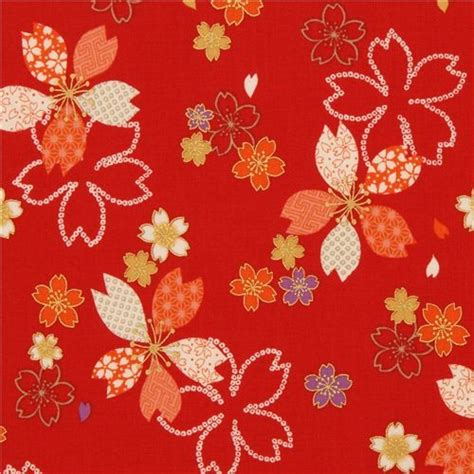 cherry blossom upholstery fabric red kokka cherry blossom flower fabric with gold fabric