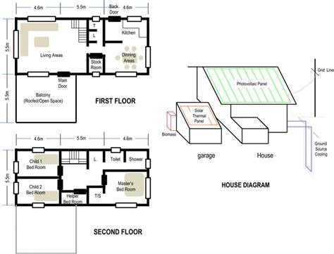 house diagram floor plan house floor plan and schematic diagram for solar thermal pv system