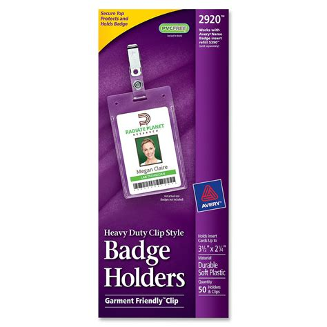 Avery Vertical Name Badge Template by Avery 2920 Badge Holders Vertical 50 Box