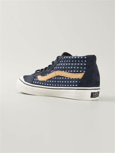 mens patterned vans vans sk8 mid cross pattern sneakers in blue for men lyst