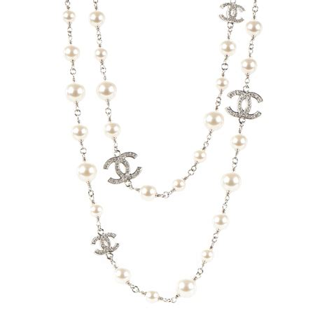 CHANEL Crystal Pearl CC Long Necklace Silver 175252