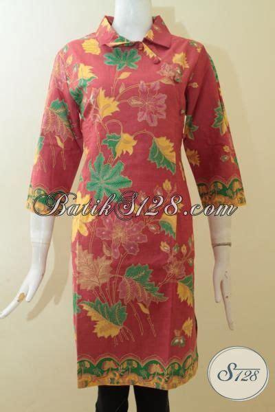 Baju Gamis Warna Merah Jambu baju dress batik printing warna merah jambu batik motif tanaman bunga baju batik istimewa
