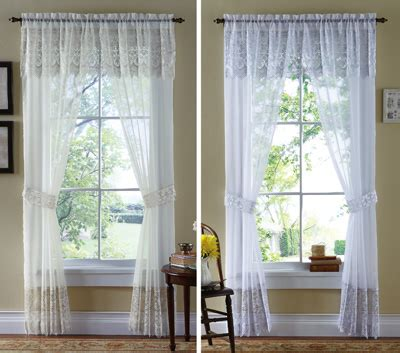lacey curtains lacey sheer curtain panel set includes valance