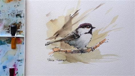 watercolor tutorial chickadee line and wash black capped chickadee great for begginers