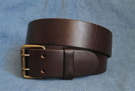 brown leather belt 2 prong brass buckle heavy duty s