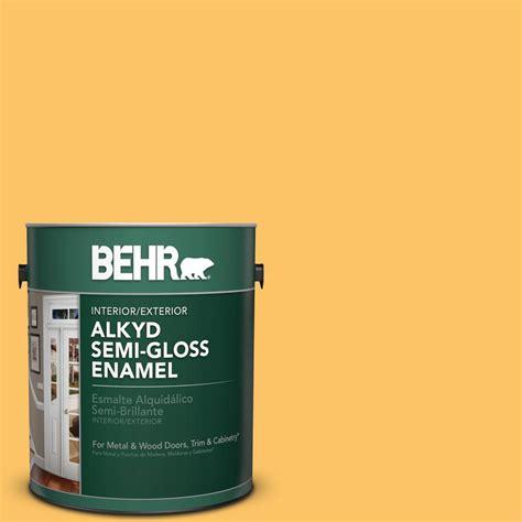 behr premium plus 1 gal ppu6 06 honey locust semi gloss enamel exterior paint 540001 the