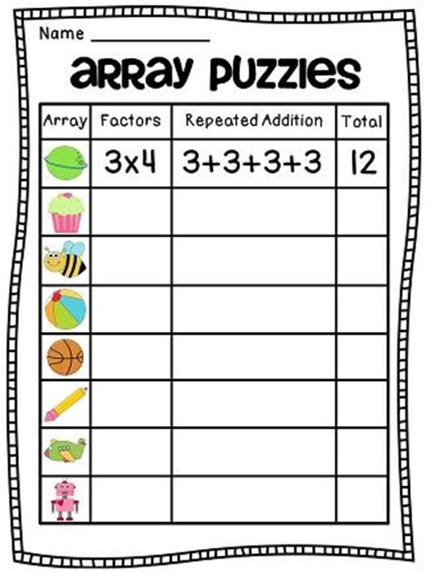 Arrays Worksheets by Arrays Arrays Arrays Teaching Much And On